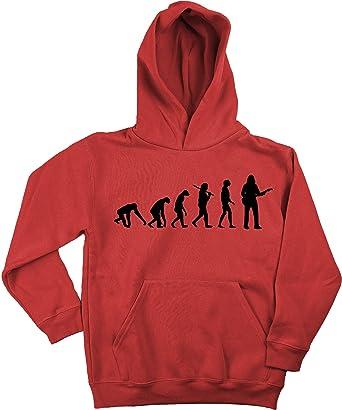 Ma2ca - Evolution Gitarrist Kinder Kapuzensweatshirt Premium Kids  Hoodie-rot-s