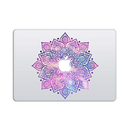 Laptop stickers macbook decal removable vinyl w glowing apple logo diecut mandala decal
