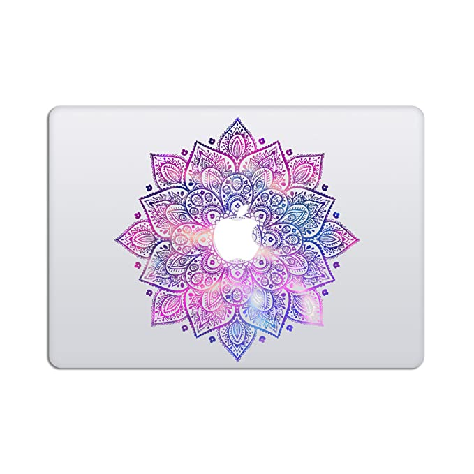 Laptop Stickers MacBook Decal - Removable Vinyl w/Glowing Apple Logo Diecut - Mandala Decal Purple Blue Colorful Skin for MacBook Air Pro 13 15 inch Mac Retina - Best Decorative Sticker - Artsybb