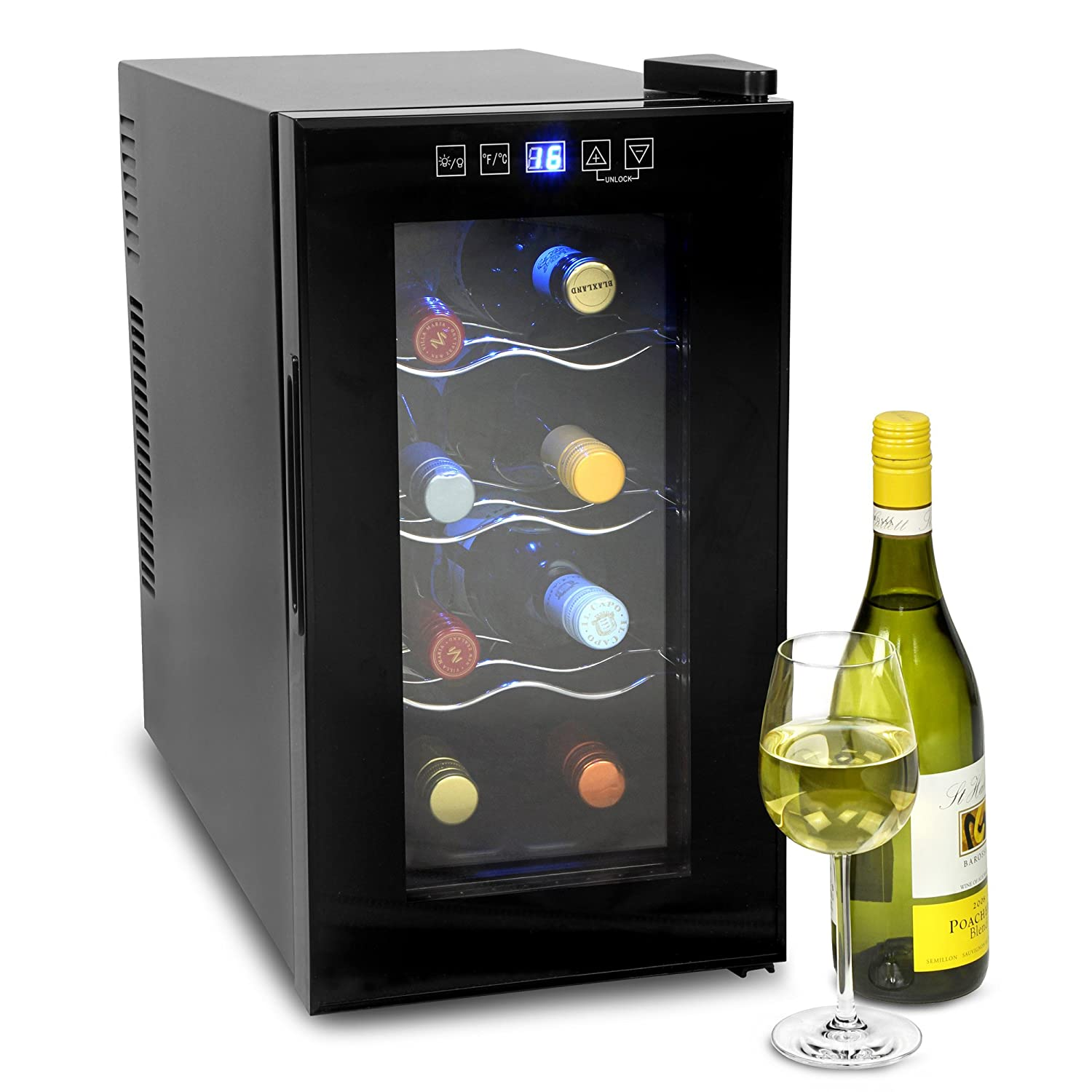 bar@drinkstuff VinoTech 8 Bottle Wine Cellar - 25 Litre Digital Wine Cooler and Warmer 8ºC to 18ºC