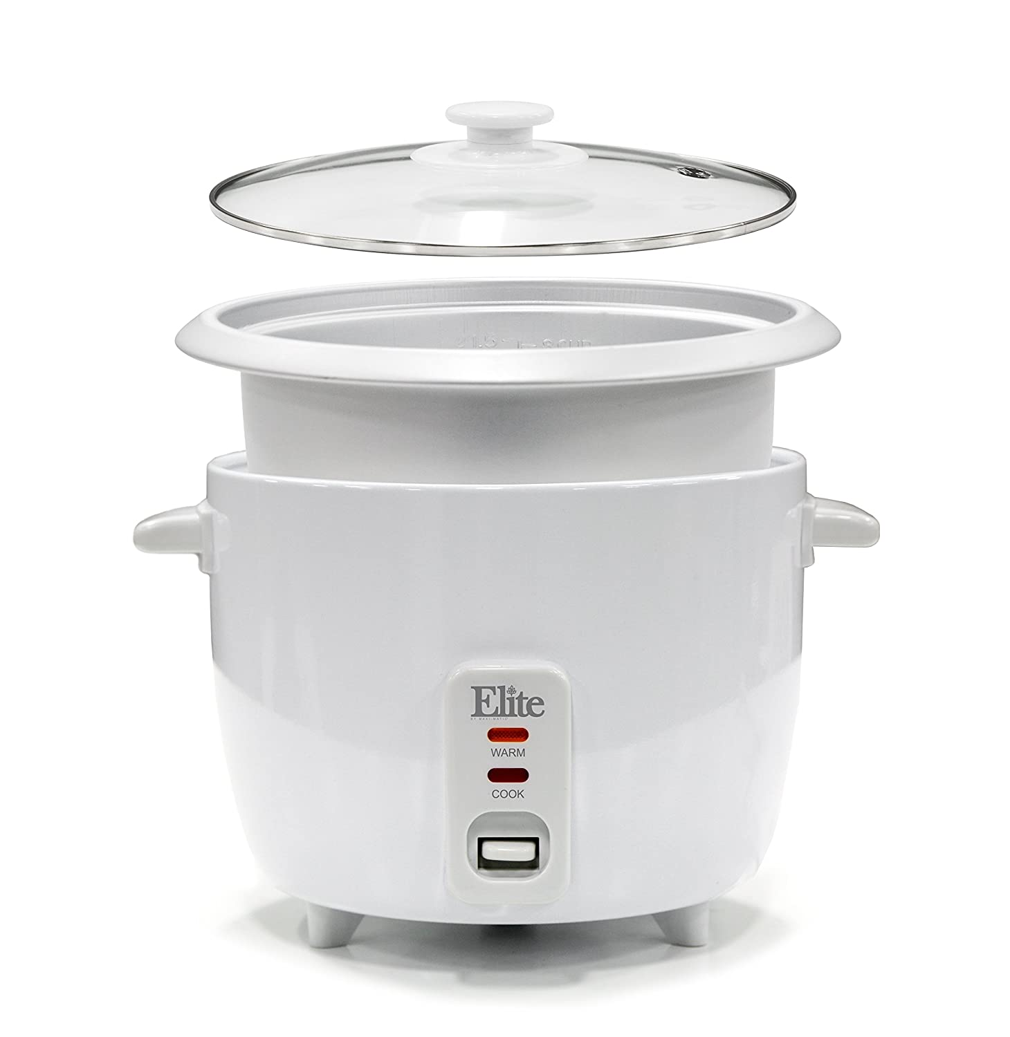 Amazon.com: Elite Cuisine ERC-003 Rice Cooker with Removable Pot, Glass  Lid, One-Touch Switch with Automatic Keep Warm Function, Makes Soups,  Stews, Grains, ...