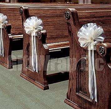 Amazon.com: Wedding Aisle Decorations - Ivory Tulle Wedding Pull ...