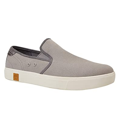 d527f9ca81 Timberland Men's Amherst Double Gore Slip Steeple Grey Cotton Canvas  Leather Sneakers-8.5 UK/