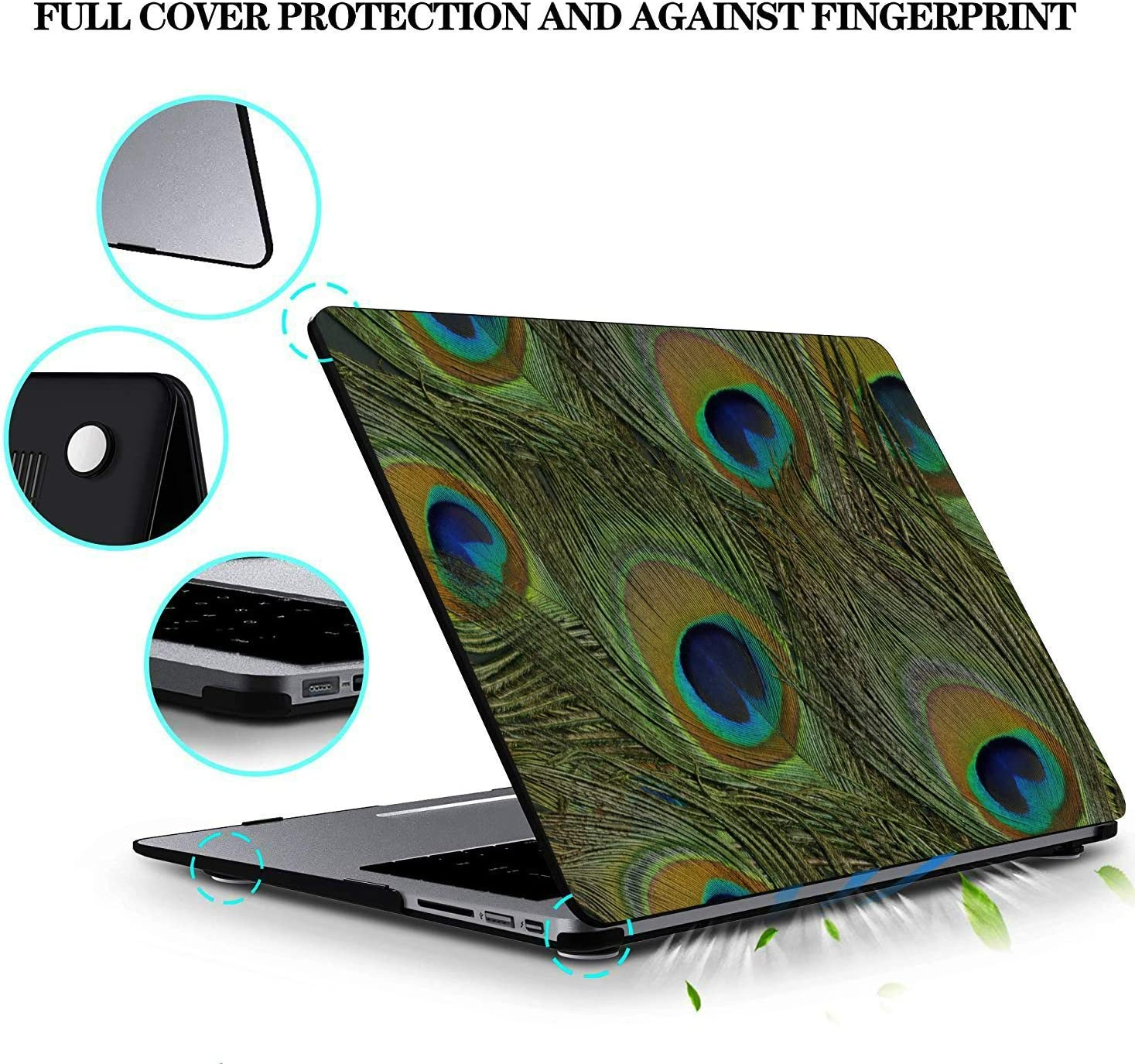 MacBook Pro Case 2015 Colorful Bird Peacock Feathers Plastic Hard Shell Compatible Mac Air 11 Pro 13 15 MacBook Assessories Protection for MacBook 2016-2019 Version