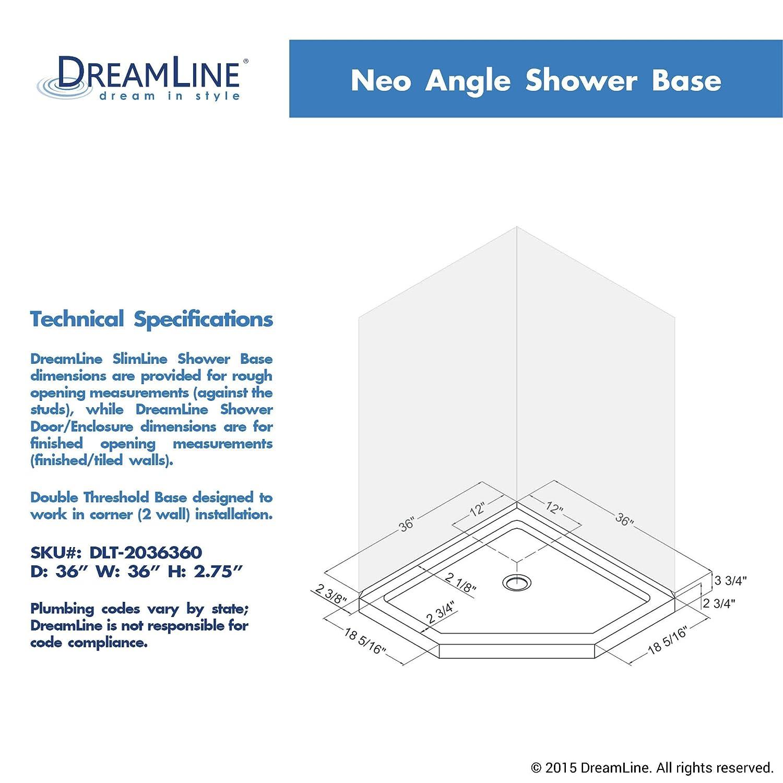 neoangle shower base dlt2036360 acrylic shower pans amazoncom