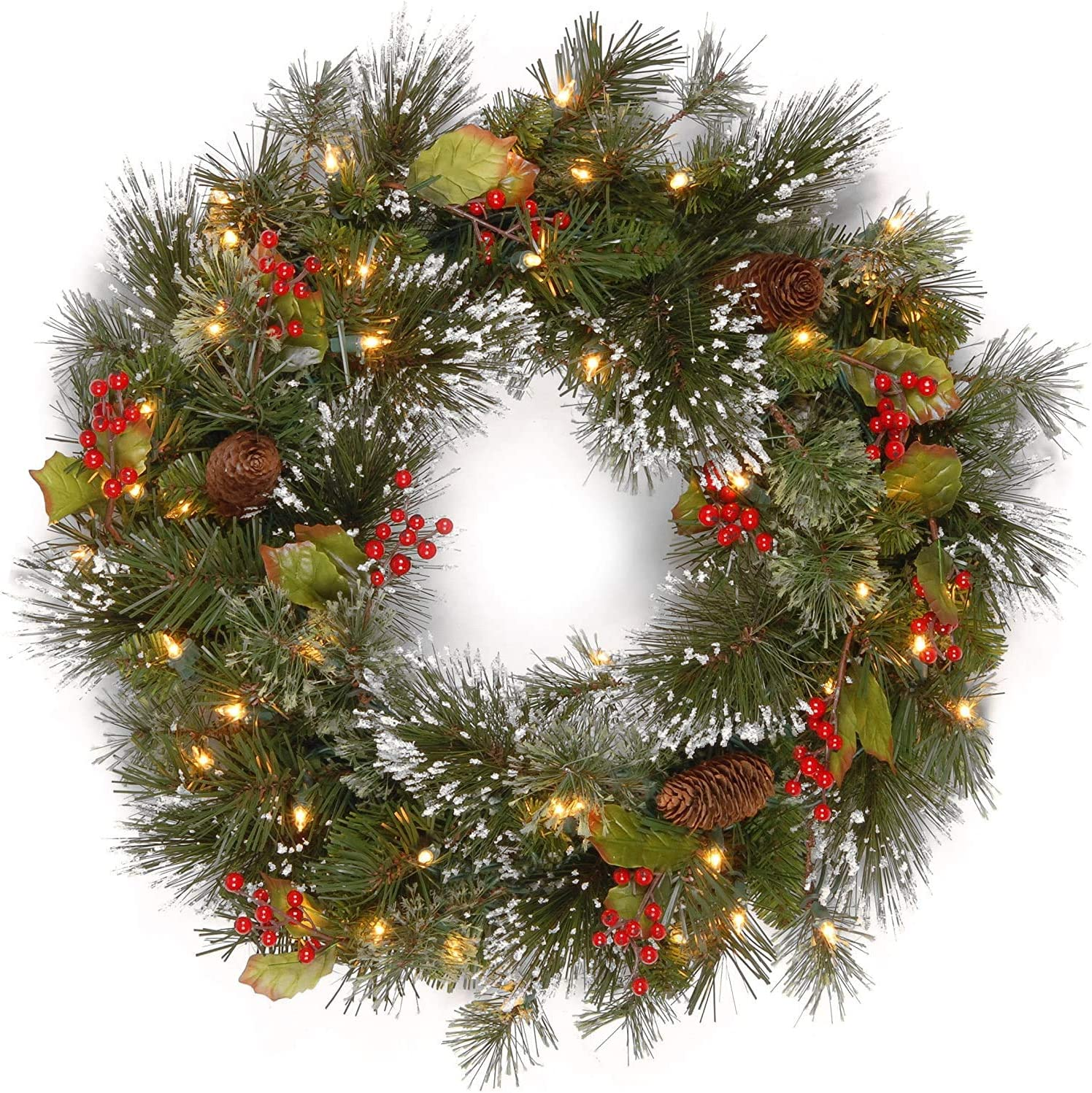 National Tree Company Pre-lit Artificial Christmas Wreath| Flocked with Mixed Decorations and Pre-strung White LED Lights | Wintry Pine - 24 inch