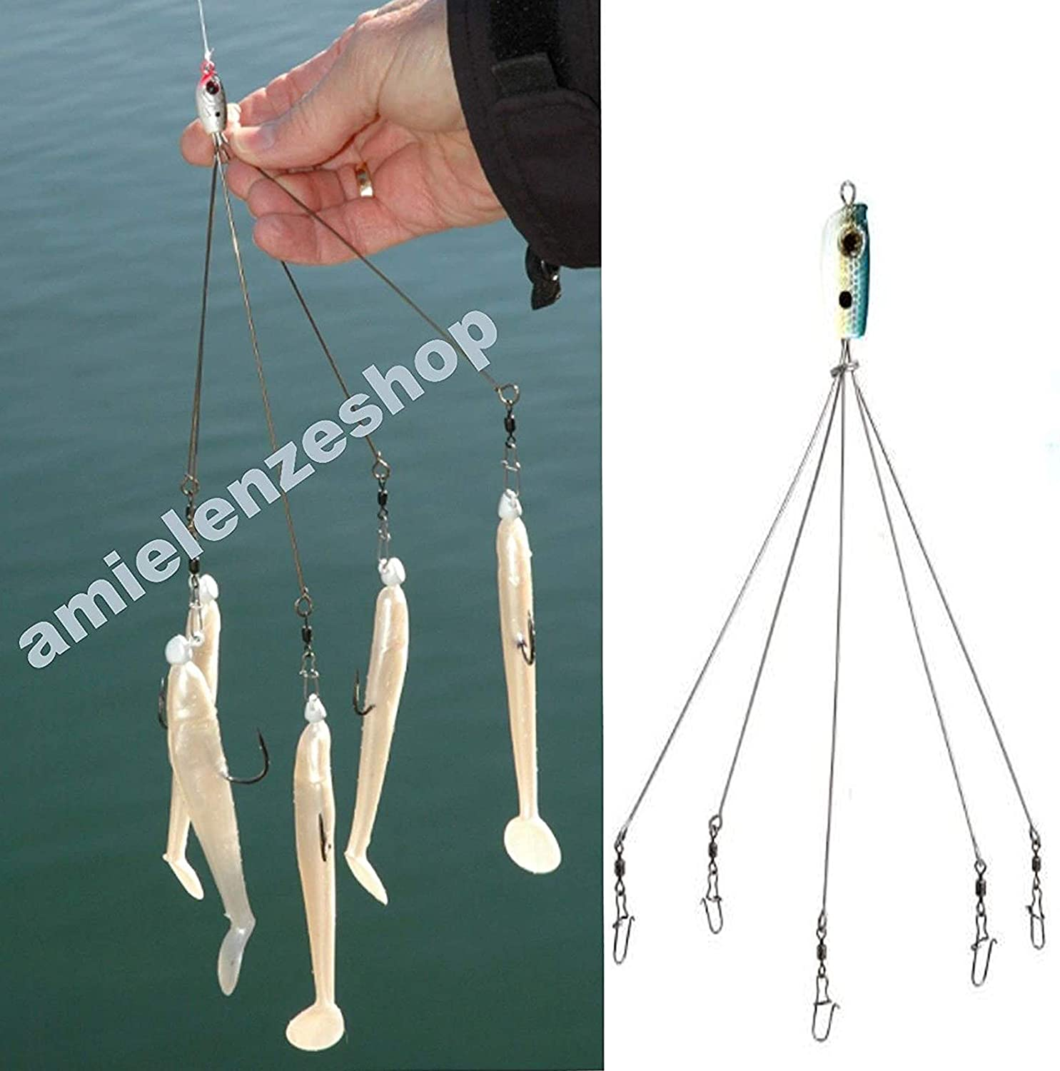 Carson Umbrella Rig Artificial Pesca Spinning Traina Playa spigola ...