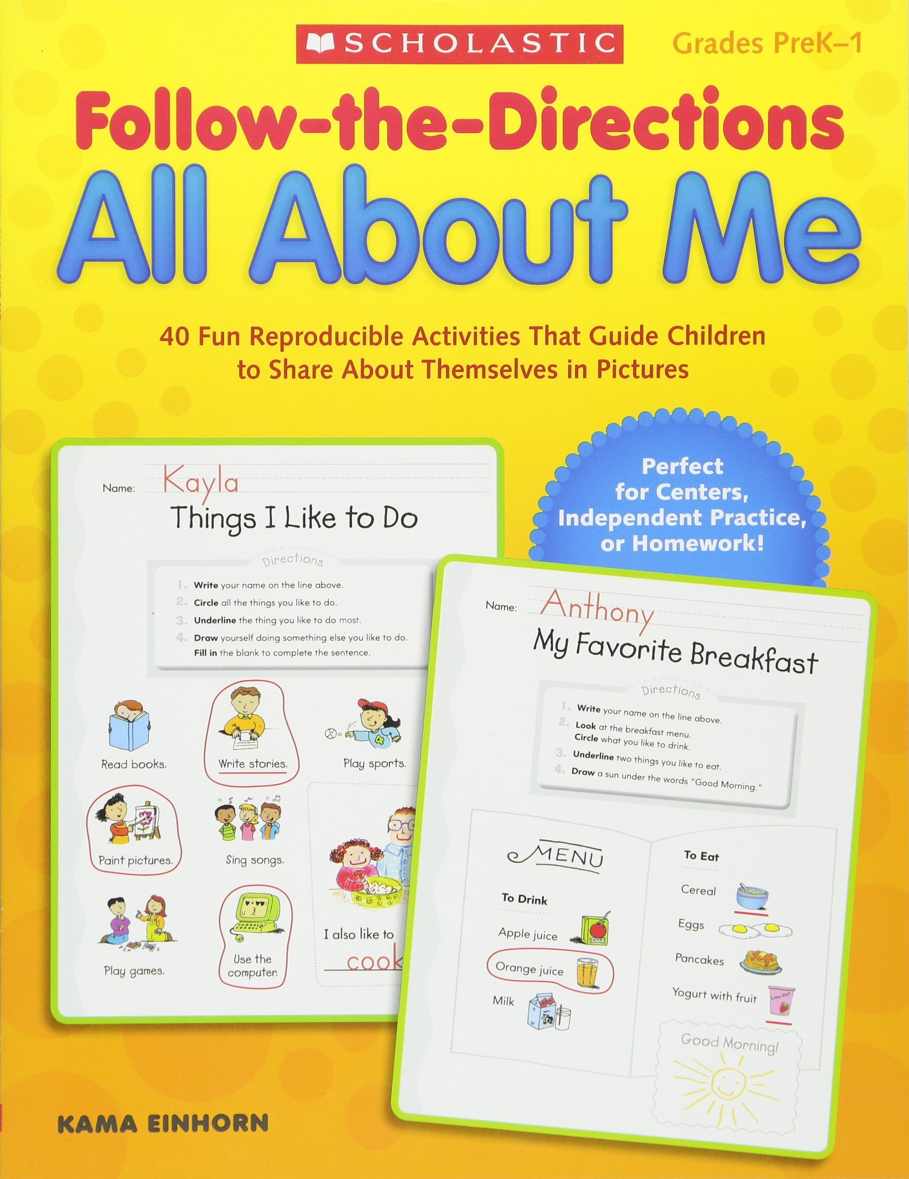 Follow-the-Directions All About Me: 40 Fun Reproducible