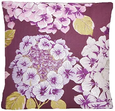 Funda para cojín de Hortensia tejido de flores rosas y funda ...