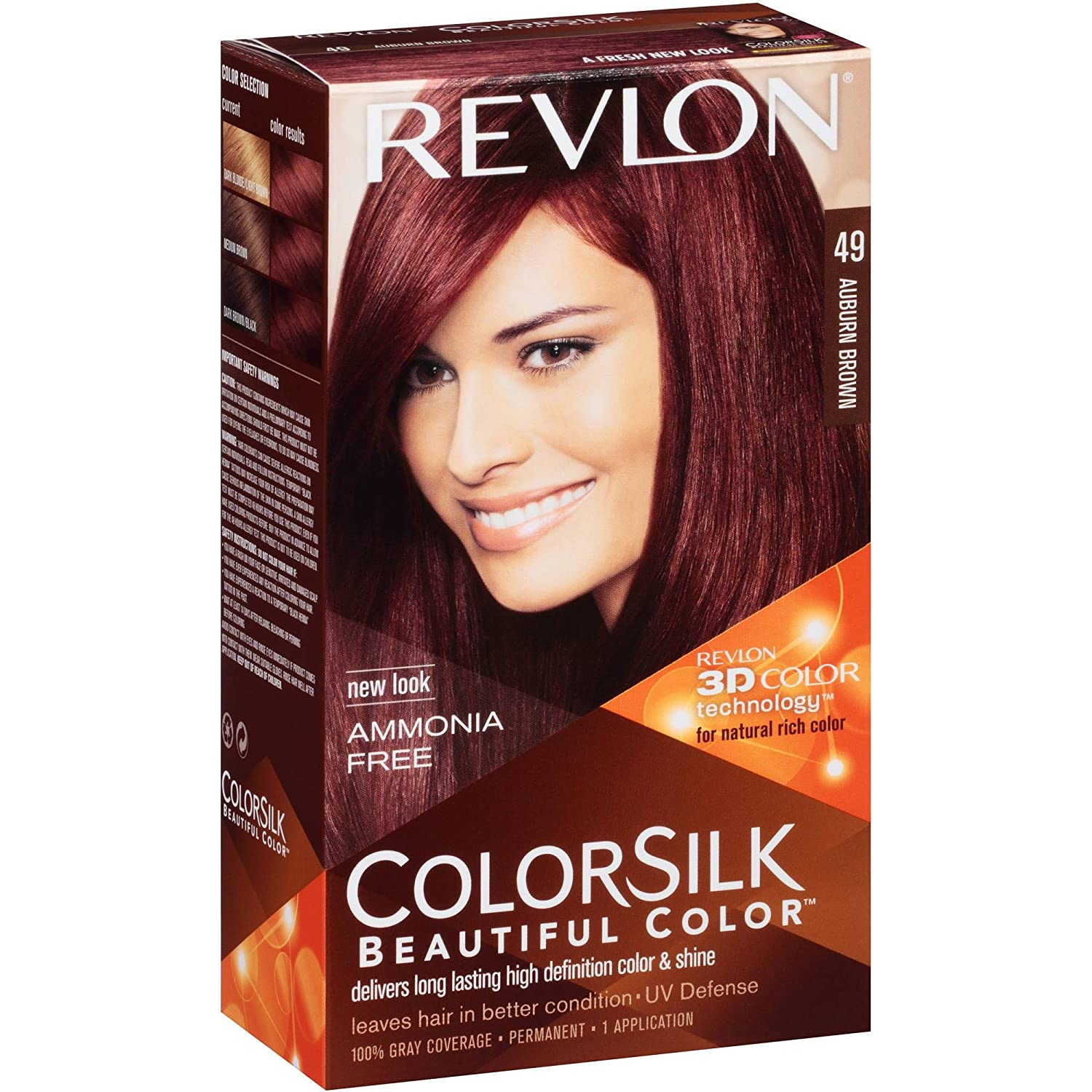 revlon coloration permanente colorsilk beautiful color couleur radieuse longue tenue couleur 49 brun auburn - Coloration Brun Auburn