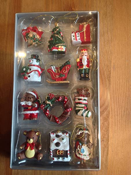 gisela graham box of 12 mini christmas tree decorations