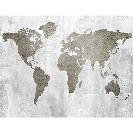Fototapete Weltkarte Grau Vlies Wand Tapete Wohnzimmer ...