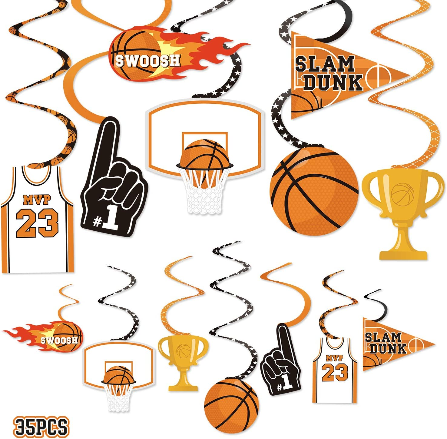 35CT Basketball Party Hanging Swirls Decoration Slam Dunk Kids Teenagers Birthday Photo Props March Madness Sports Cutouts Whirls Favor Supplies