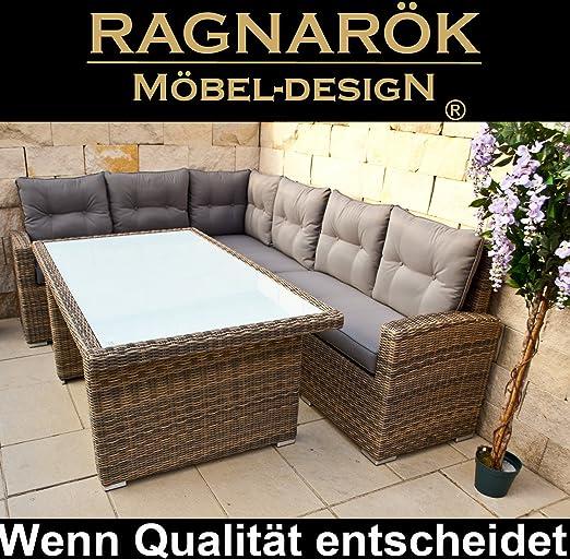 Ragnarök-Möbeldesign marca alemana - producción propia, 8 años de garantía en UV de poliratán, muebles de jardín mesa + Dinning Lounge: Amazon.es: Jardín