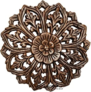 Asiana Home Decor Wall Art- Oriental Carved Lotus Round Wood Plaque in Brown Finish Size 12