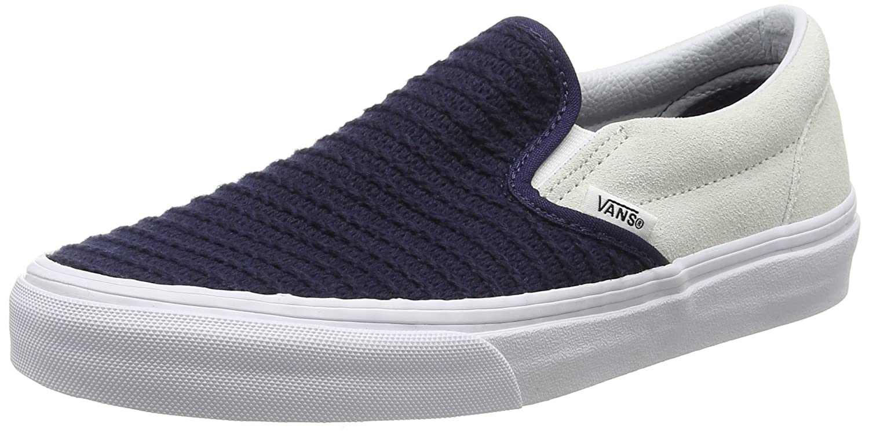 Vans Unisex-Erwachsene Classic Slip-On Low-Top  34.5 EU Mehrfarbig (Suede/Woven Navy Blue/True White)