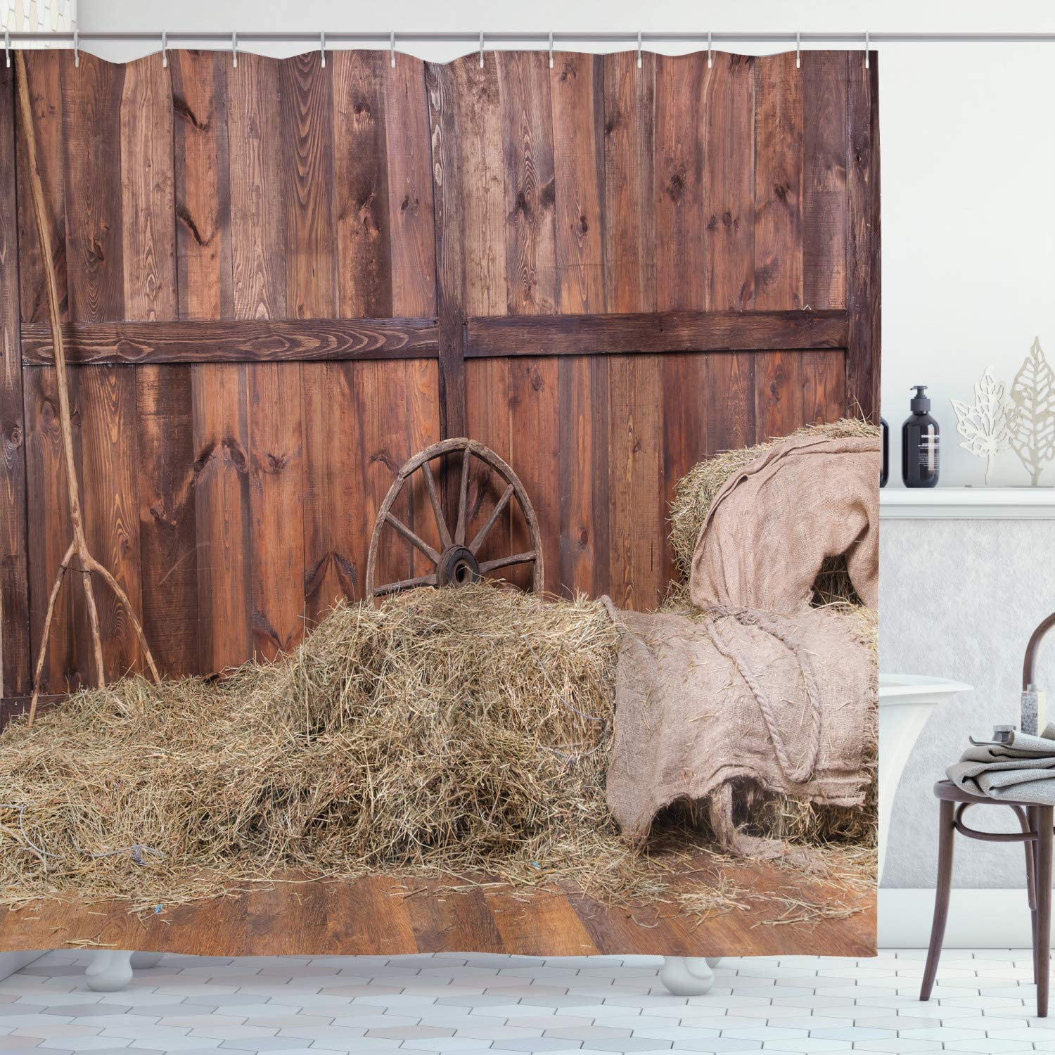Ambesonne Barn Wood Wagon Wheel Shower Curtain, Rural Old Horse Stable Barn Interior Hay and Wood Planks Image Print, Cloth Fabric Bathroom Decor Set with Hooks, 70