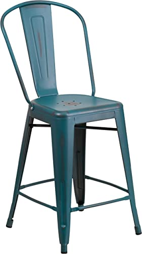 Flash Furniture Commercial Grade 24″ High Distressed Kelly Blue-Teal Metal Indoor-Outdoor Counter Height Stool