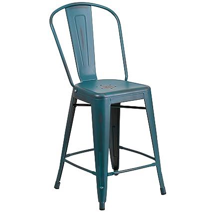 Genial Flash Furniture 24u0027u0027 High Distressed Kelly Blue Teal Metal Indoor Outdoor  Counter