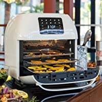 BCP SKY5433 16.9-Qt 1800W 10-in-1 Air Fryer Countertop Oven, Rotisserie, Toaster, Dehydrator (White)