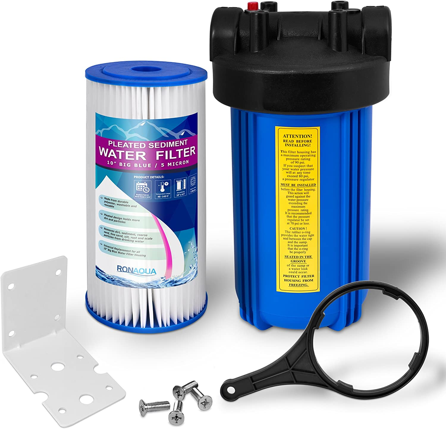 """Whole House Water Filtration System, Big Blue Housing, 1""""Inlet/Outlet Brass Ports, Pressure Relief Button, 5 Mic Pleated Washable & Reusable Sediment Cartridge, Meets NSF Standards & Regulations (10"""")"""