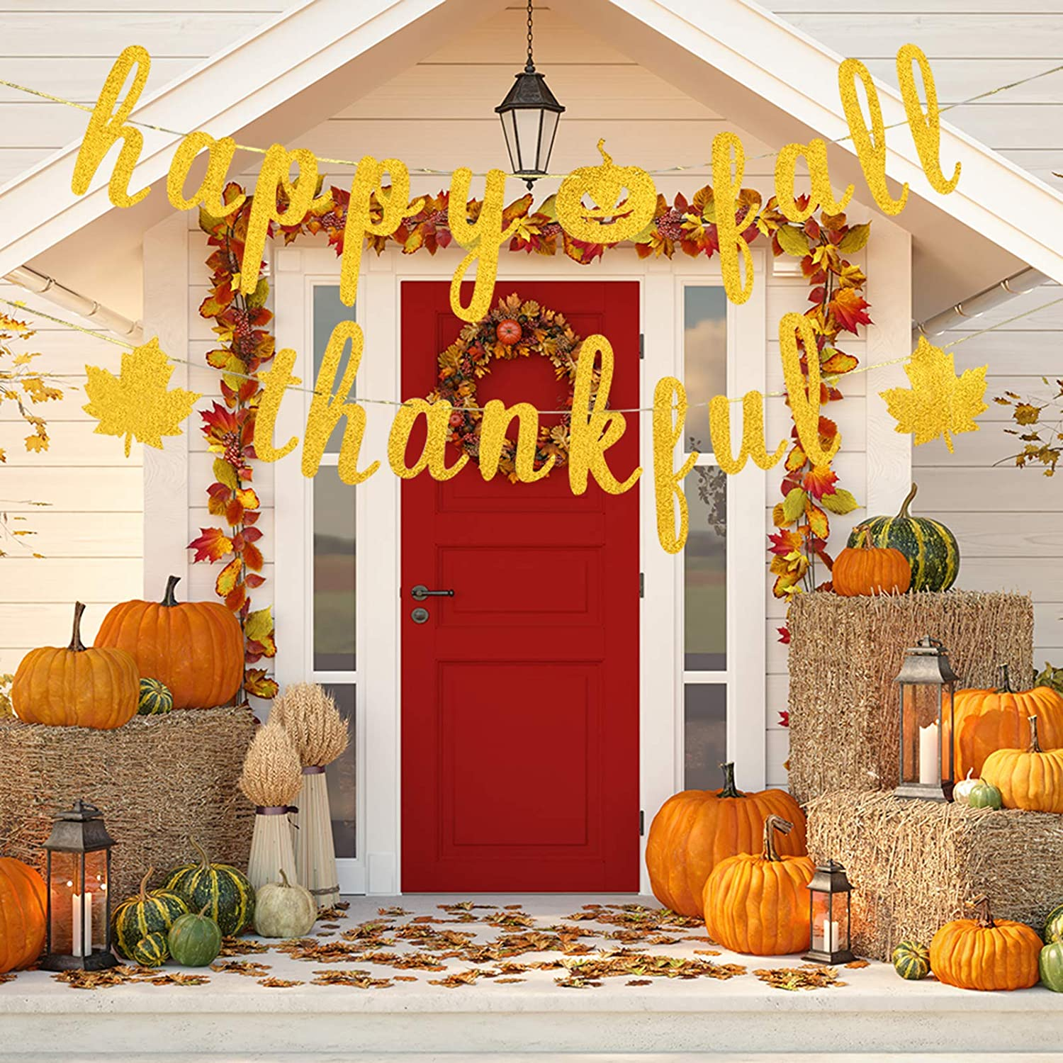 Autumn Harvest Theme Party Hanging Sign Thanksgiving Day Decorations Gold Happy Fall Thankful Banner