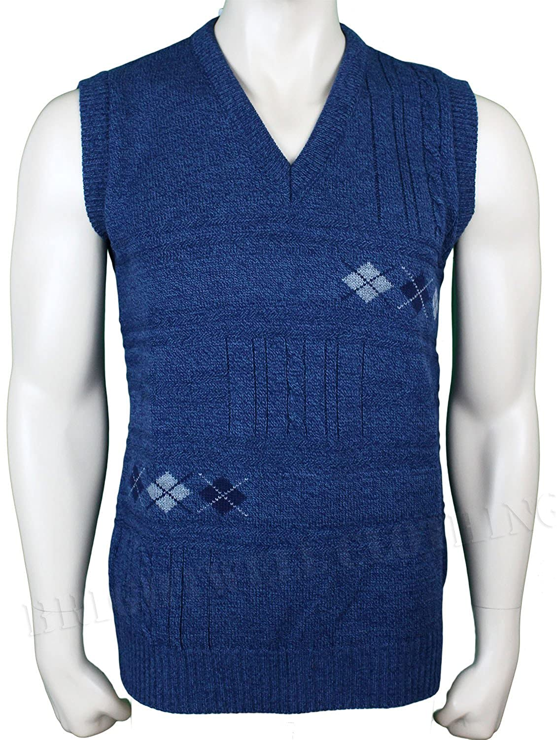 Mens Sleeveless Cardigan Knitted Waistcoat Classic Style Cardigans V Neck Sweater