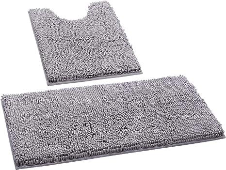 homeideas 2 pieces bathroom rugs set grey ultra soft non slip bath rug absorbent chenille bath mat plush bathroom carpets mats for bathroom tub