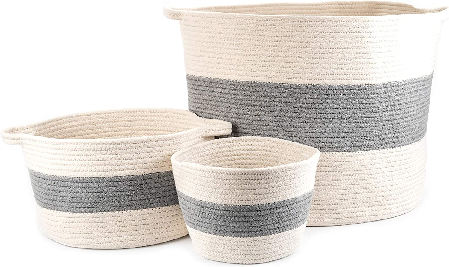 "Little Hippo 3pc Large Cotton Rope Basket (21""x16"") 100% Natural Cotton! Rope Basket, Woven Storage Basket, Large Basket, Blanket Basket Living Room, Toy Basket, Pillow Basket, Round Basket"