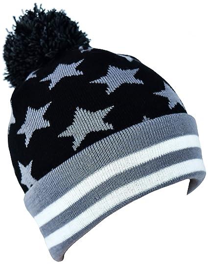 Amazon.com  PATT Ind. Pom-Pom Camo Beanie One Size USA Black + Gray ... 198e4cfa284