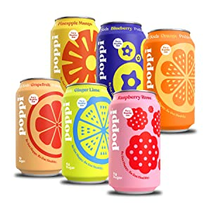 poppi A Healthy Sparkling Prebiotic Soda, w/ Real Fruit Juice, Gut Health & Immunity Benefits, 12pk 12oz Cans, Fun(ctional) Favorites Variety Pack, Assortment May Vary