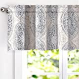 DriftAway Adrianne Damask and Floral Pattern Window Curtain Valance 52 Inch by 20 Inch Beige and Gray