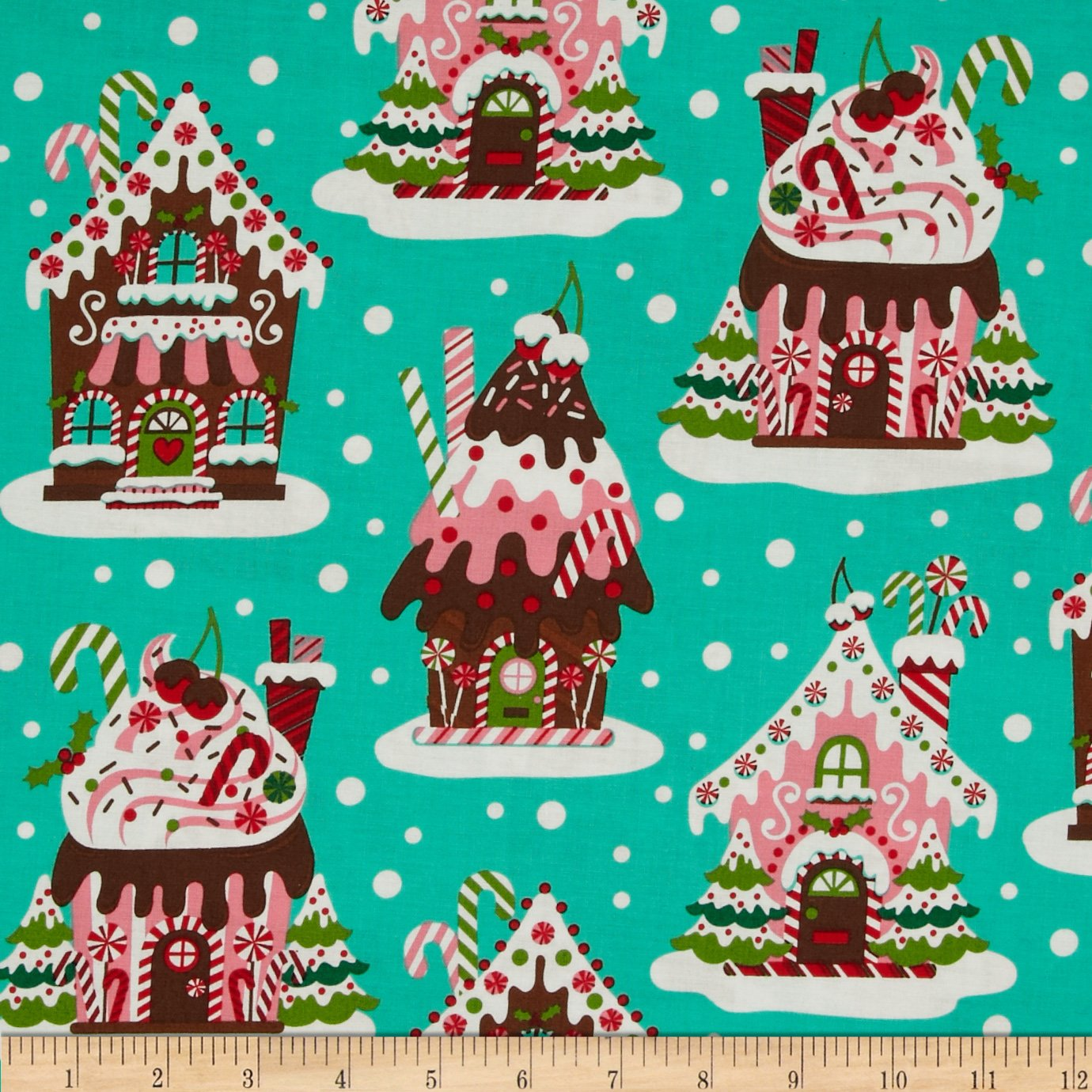 Michael Miller Holiday Gingerbread Houses Fabric by The Yard, Aqua 0290455