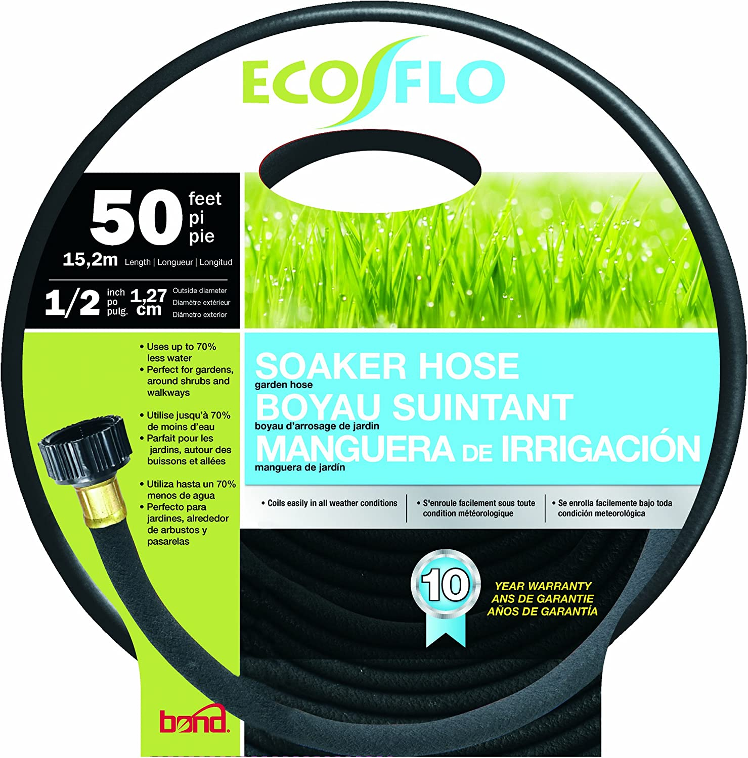 Bond Manufacturing Bond 70280 Eco Flo 50-Feet by 1/2-Inch Soaker Garden Hose, FT