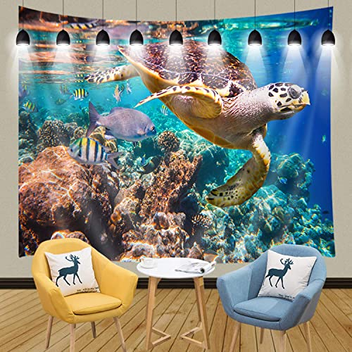 JAWO Sea Creature Tapestry, Animal Turtle and Corals in Deep Ocean Tapestry Wall Hanging Wall Dorm Room Living Room Bedroom Blanket Bedspread 90x70inches