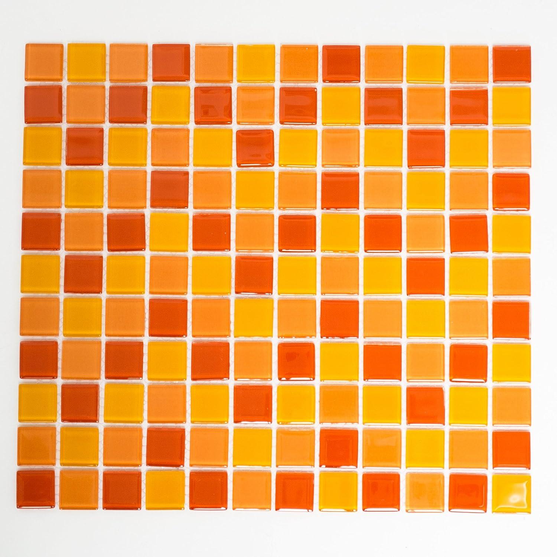 Mosaikfliesen Glasmosaik Fliesen Mosaik Kü che Bad WC Wohnbereich Fliesenspiegel Mix gelb orange rot 4mm #K784 123mosaikfliesen