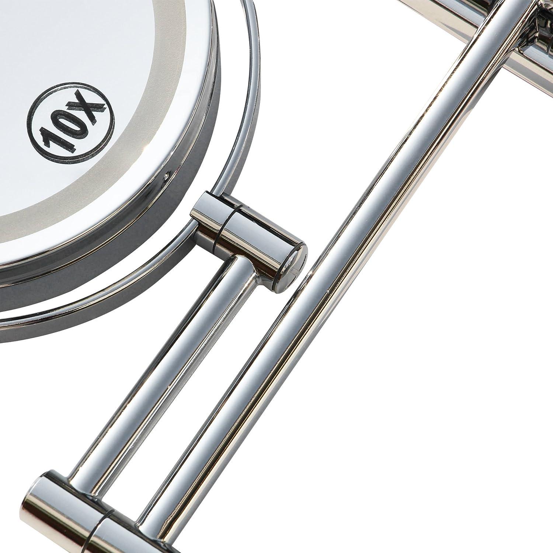 Schminkspiegel Wand Rasierspiegel Make-up Spiegel 360/° Schwenkbar Faltbar Doppelseitig NMRCP Kosmetikspiegel Wandmontage 10Fach Vergr/ö/ßerung mit Klapparm Matt-Schwarz