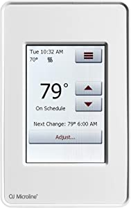 "OJ Microline Programmable Dual-Voltage Thermostat With Intuitive 3.5"" Touchscreen Interface. Dual Sensing - Box Includes Air and Floor Sensor For Radiant Under Floor Heating. UDG4-4999 Class A GFCI"