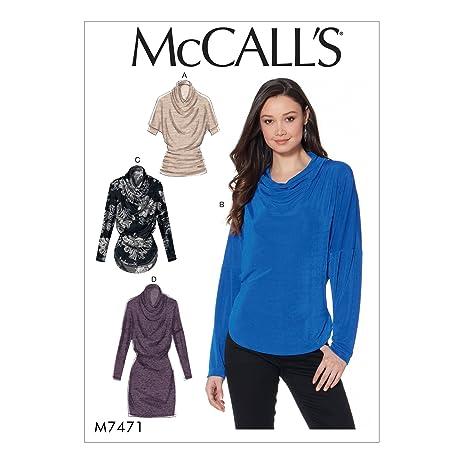 Amazon.com: MCCALLS M7471 (SIZE 6-14) Misses\' Knit Cowl-Neck Tops ...