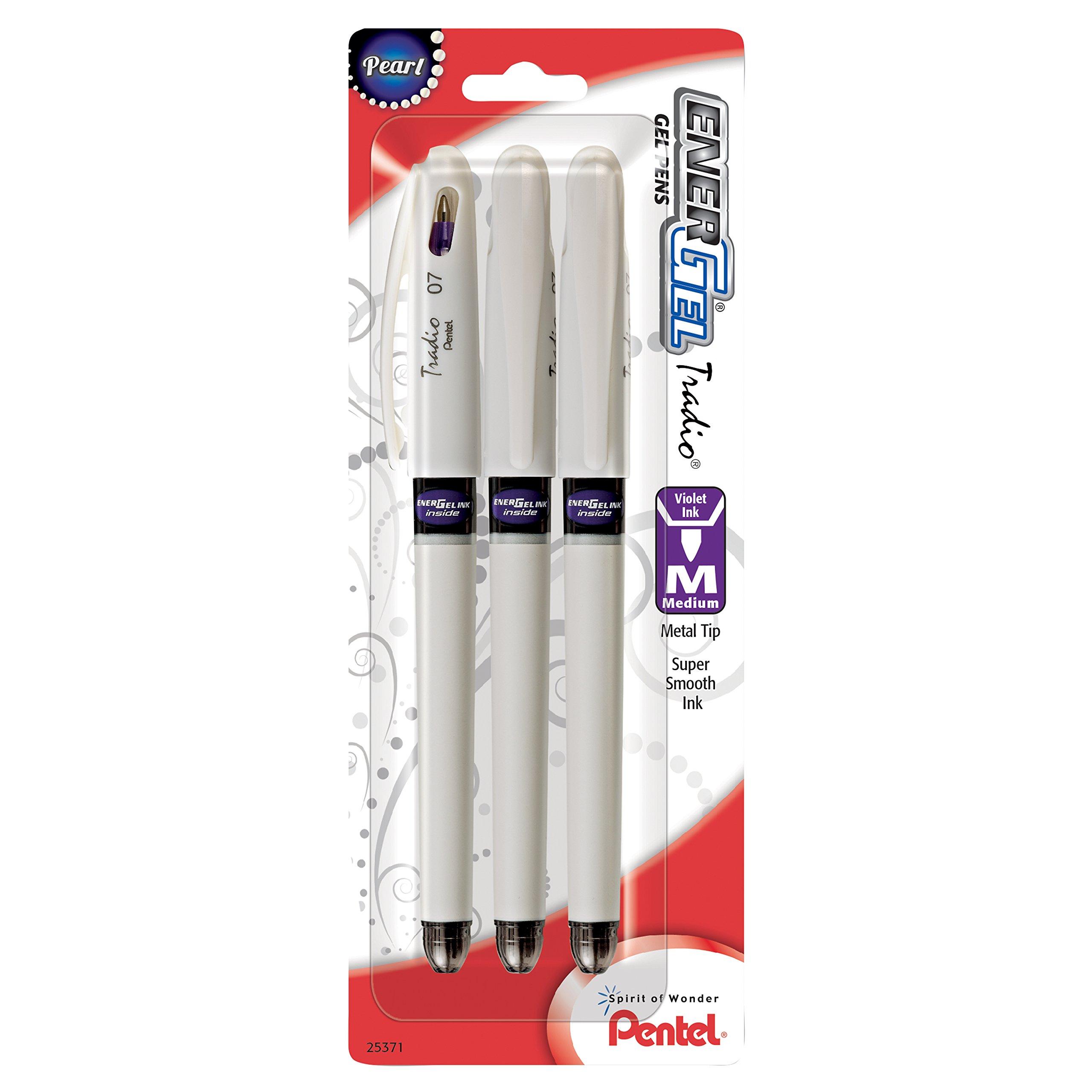 Pentel EnerGel Tradio Pearl Liquid Gel Pen, 0.7mm, Medium Line Capped, Violet, 3 Pack (BL117WBP3V)