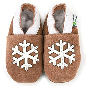 Amazon.com  Snowflake Suede Soft Sole Leather Baby Shoes Size  6-12 ... fc69bb27a4f1