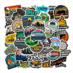 MEJULY 50PCS Outdoor Adventure Stickers for Water Bottles Laptop HydroFlasks Aesthetic Decals for Mac Computer Phone Guitar Skateboard