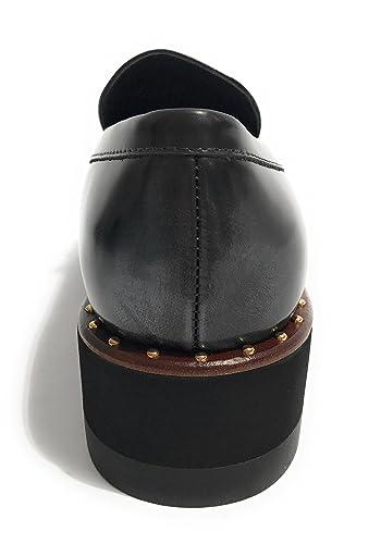 Liu.Jo Amos S67177P0258 scarpe donna mocassino zeppa nero con frangia e  borchie oro  Amazon.it  Scarpe e borse 417e9e8a390