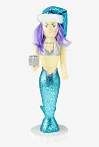 Clever Creations Traditional Wooden Collectible Blue Mermaid Decorative Nutcracker, Festive Christmas Décor, 14 Inch Tall Perfect for Shelves and Tables, 100% Wood