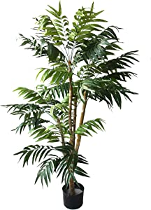 Pure Garden 5 Foot Artificial Palm Tree – Large Faux Potted Tropical Plant for Indoor or Outdoor Decoration at Home, Office, or Restaurant