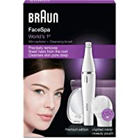 Braun Face SE830 Facial Epilator and Cleanser + Lighted Mirror and Beauty Pouch, White