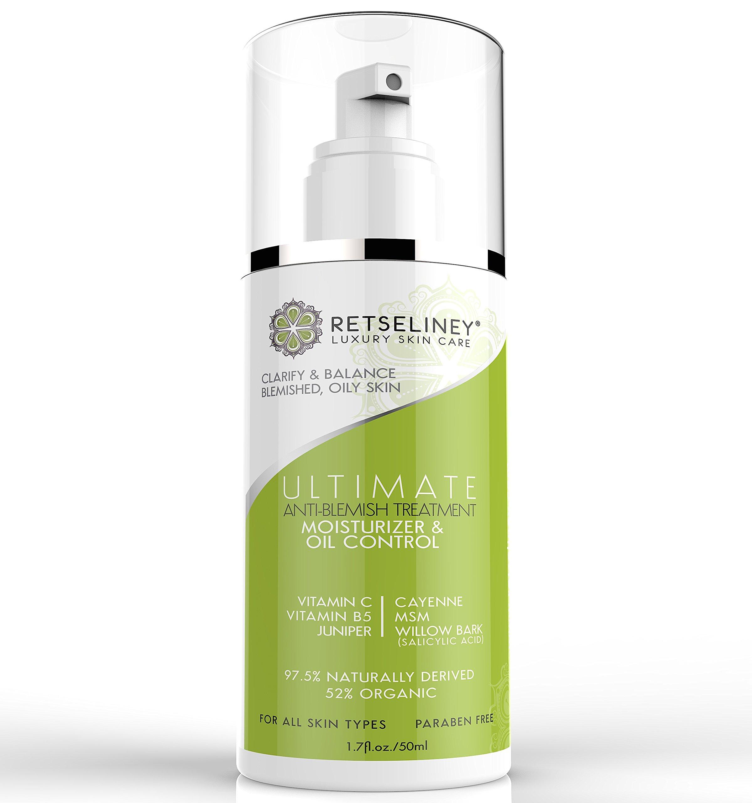 Retseliney Acne-Treatment Oil-Control Moisturizer Cream with 2% Salicylic Acid and Vitamin C