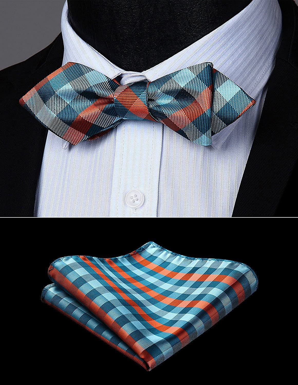 BIYINI Mens Check Wedding Party Bowtie Diamond Point Tip Self Bow Tie /& Pocket Square Set