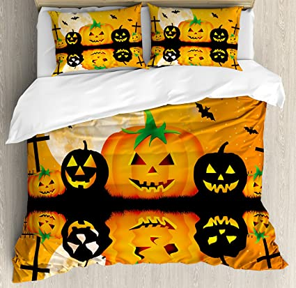 ambesonne halloween duvet cover set king size spooky carved halloween jack o lantern and full