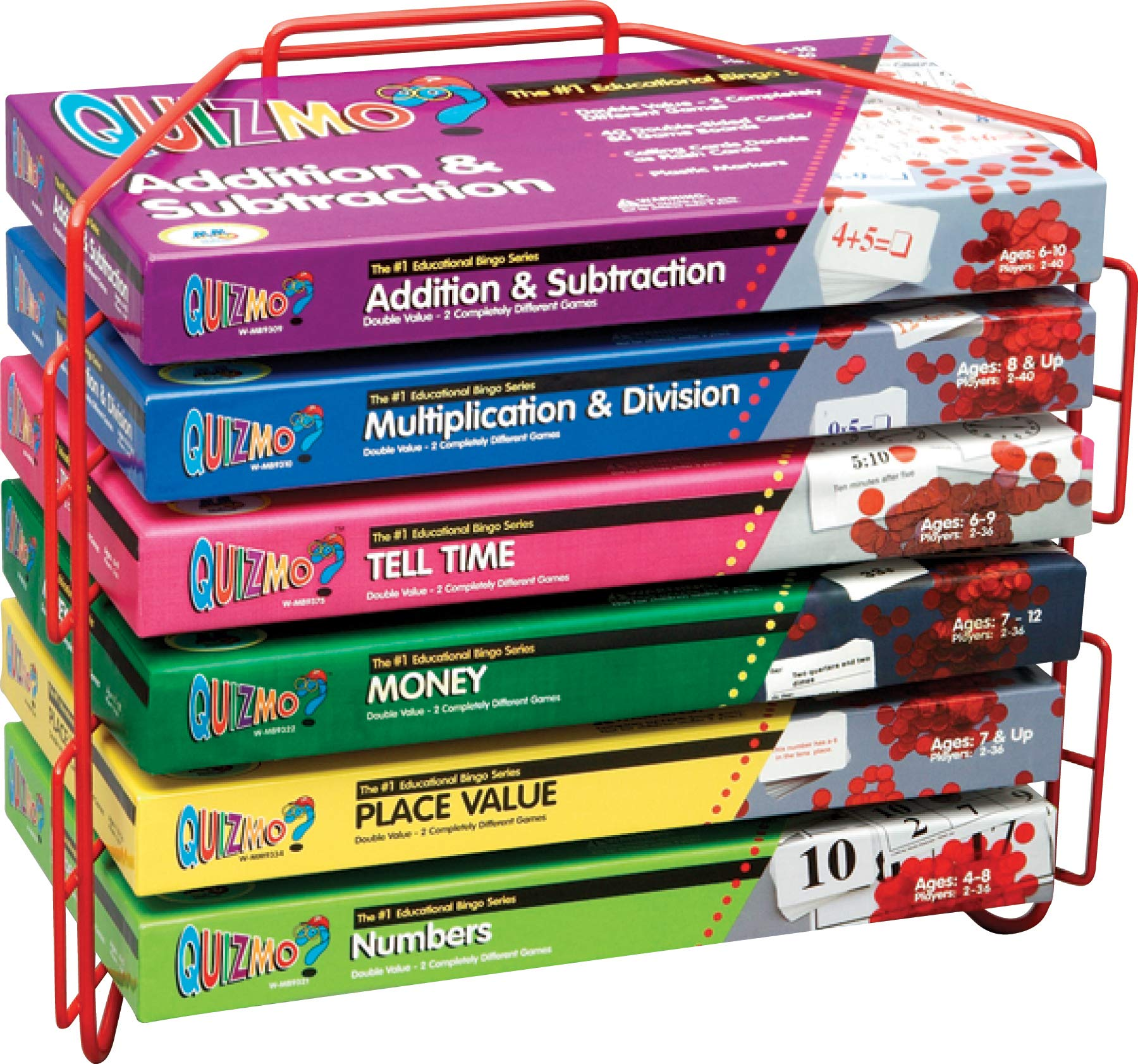 Learning Advantage QUIZMO Elementary Math Series - Set of 6 Bingo-Style Games for Kids - Beginner Math - Teach Addition, Subtraction Multiplication, Division, Time, Money and Place Value by Learning Advantage